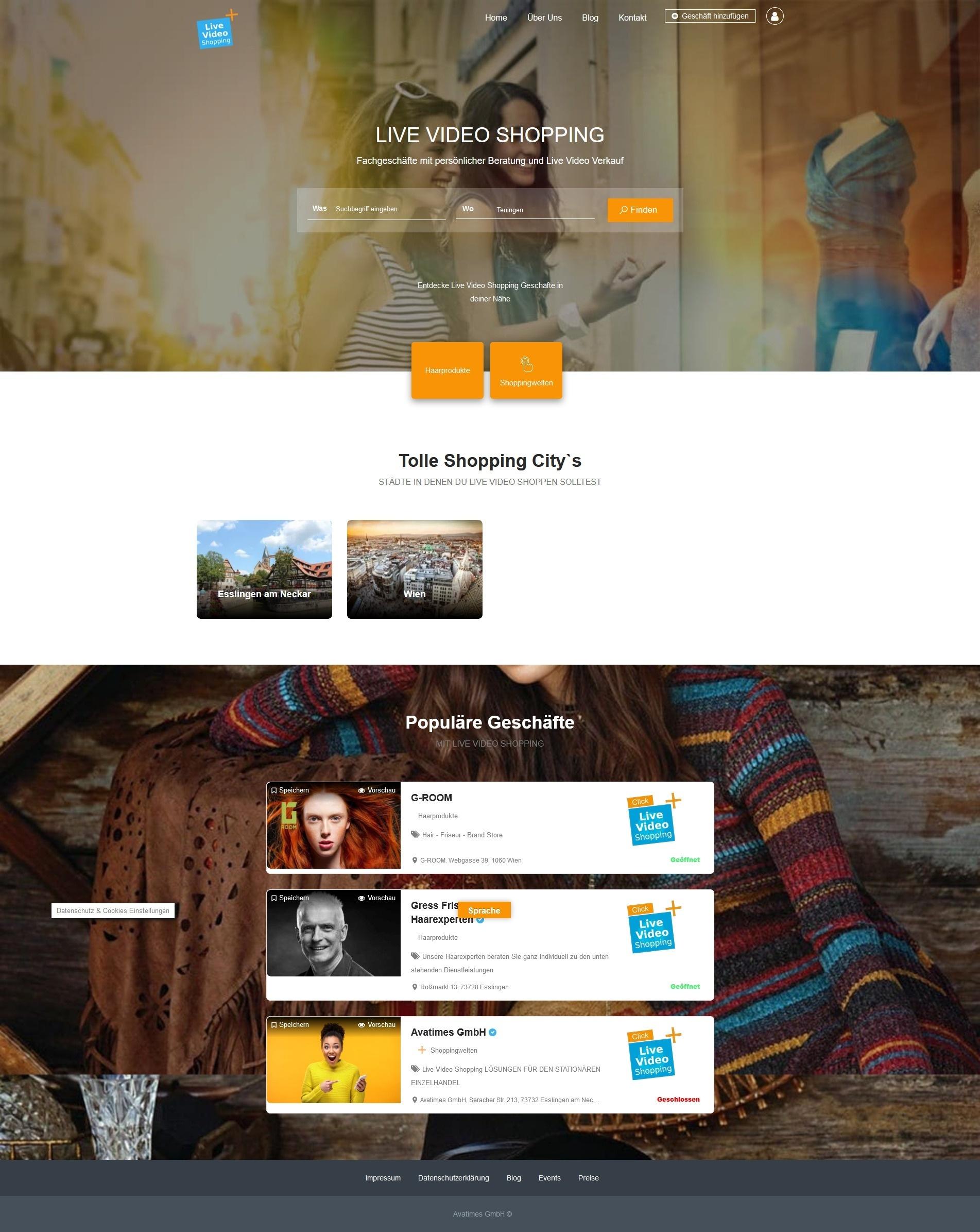 Markplatz und Werbeplattform für Live Video Shopping